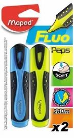 Markeerstift Fluo Pep's Maped geel/blauw op blister x 2 (M1/2).