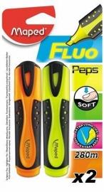 Markeerstift Fluo Pep's Classic Maped - geel/oranje - op blisterkaart x 2 (M2/3)