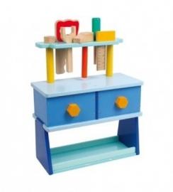 Houten werkbank blauw {L1593/W1/1}