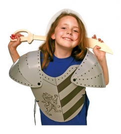 Kostuum harnas-ridderpak leeuw karton {L7388/1/1/B3}