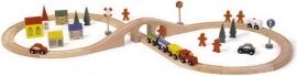 Houten treinrails large, met 46 accessoires {L1090/1/4}
