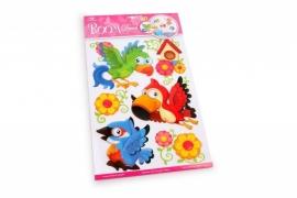 Muurstickers/Decoratiestickers papagaai 3D {L2927/1/3} OP=OP