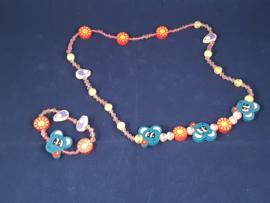 Houten sieradenset , ketting en armband {L7370/GM}