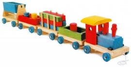 Houten trein Emil met 4 wagons {W2/3}