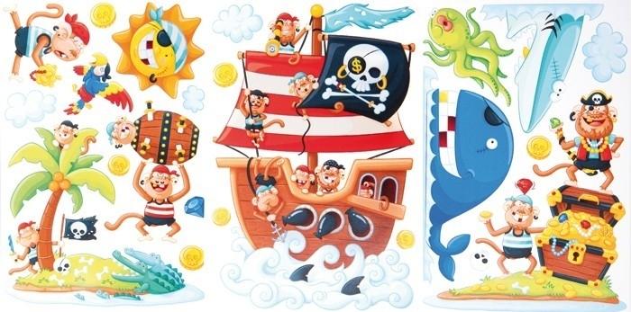 Muurstickers/Decoratiestickers piraten eiland {L4086/1/3} OP=OP