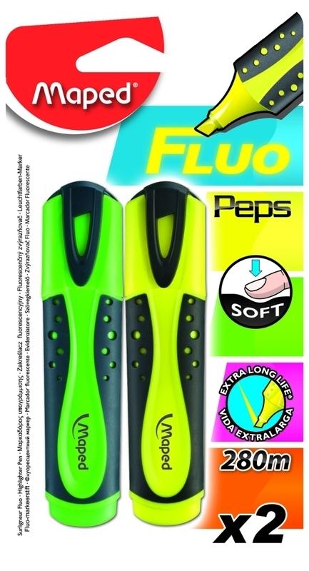 Markeerstift Fluo Pep's soft - geel/groen - op blisterkaart x 2 (M2/2).