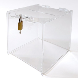 boîte à idées carré transparent avec une serrure (20 cm)