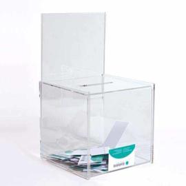 boîte à idées transparent avec support pour poster 20 cm