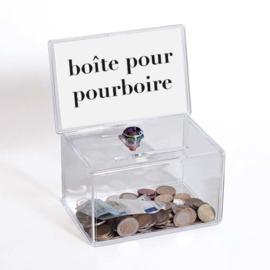 Fooienpot met tekst: boîte pour pourboire