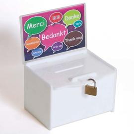 Witte donatiebox met hangslot en posterhouder