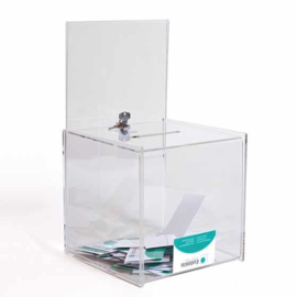 boîte à idées transparent avec support pour poster et serrure