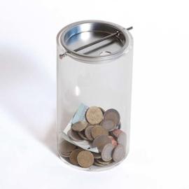 boîte à dons transparente cylindre  Sur la réception