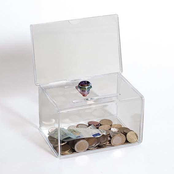 boîte à dons transparente avec étui et serrure