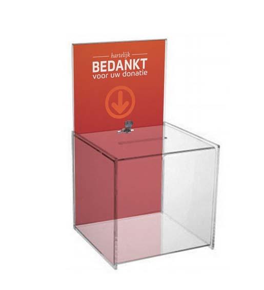 Donatiebox groot met slot en print