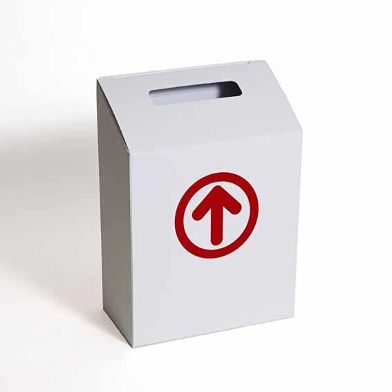 Kartonnen brievenbus pijl rood
