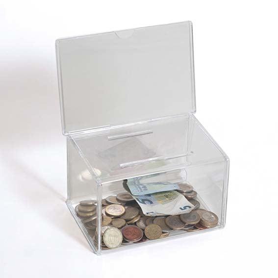 boîte à dons transparente avec étui