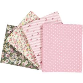 Patchwork stof, afm 45x55 cm, 100 g/m2, roze, 4stuks