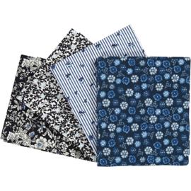 Patchwork stof, afm 45x55 cm, 100 g/m2, blauw, 4stuks
