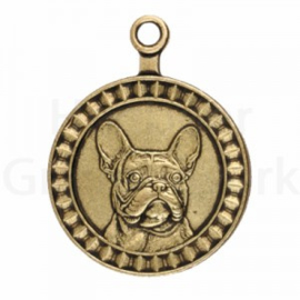 bronzen penning Franse Bulldog