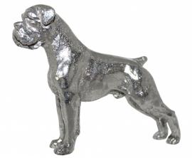sculptuur Boxer met gecoupeerde staart zilvertin