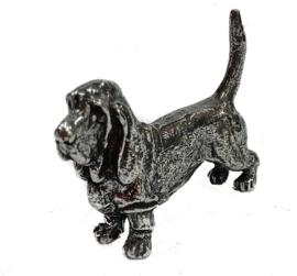 miniatuur Basset hound zilvertin