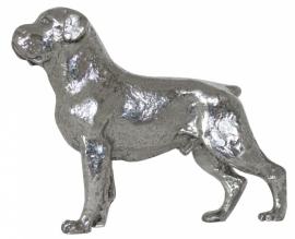 sculptuur Rottweiler zilvertin (gecoupeerde staart)