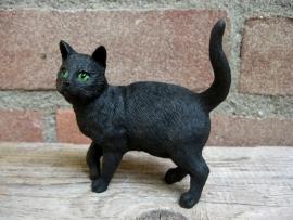 Kattenbeeldje/poezenbeeldje zwart staand