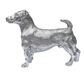 sculptuur Jack Russell Terrier zilvertin 15 cm