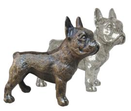 sculptuur Franse Bulldog teef zilvertin