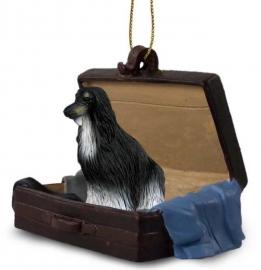 Afghaanse windhond zwart-wit in koffertje