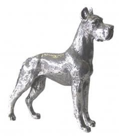 sculptuur Duitse Dog gecoupeerd zilvertin