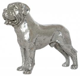 sculptuur Bullmastiff zilvertin