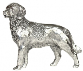 sculptuur Golden Retriever zilvertin