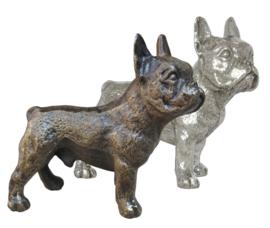 sculptuur Franse Bulldog reu zilvertin