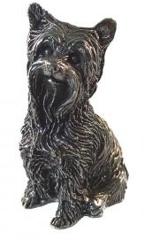 sculptuur Yorkshire Terriër zilvertin