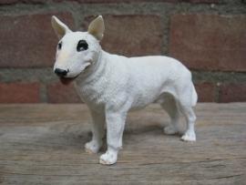 beeldje Engelse Bull Terriër wit met oogvlek