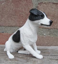 beeldje Jack Russell zittend wit-zwart