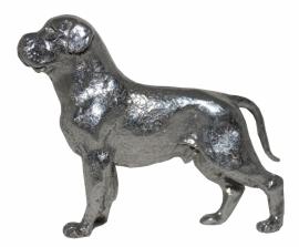 sculptuur Rottweiler zilvertin (met staart)