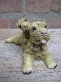 beeldje Sharpei met pup vintage