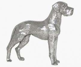 sculptuur Duitse Dog staand zilvertin