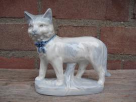 Kattenbeeldje/poezenbeeldje blauw-wit vintage