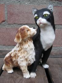 beeldje zwartwitte kat met pup