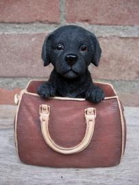 beeldje Labrador zwart in tasje