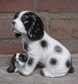 beeldje Engelse Cocker spaniel met pup