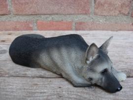 beeldje Duitse Herder zwart-grijs
