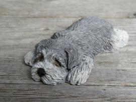 (nieuw)vintage beeldje Schnauzer grijs