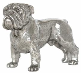 sculptuur Engelse Bulldog staand zilvertin