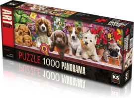 panorama puzzel Puppies 1000 stukjes