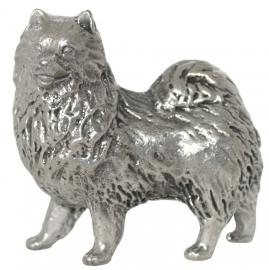 sculptuur Samojeed zilvertin