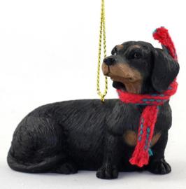 Teckel korthaar black & tan ornamentje/beeldje